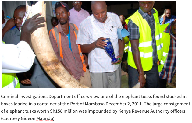 #13. December 3rd, 2011 – 1478 kg of Ivory Destined for Cambodia Seized in Mombasa